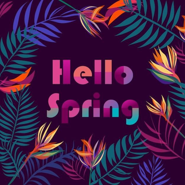 Feuilles tropicales fond avec texte bonjour printemps Vecteur Premium