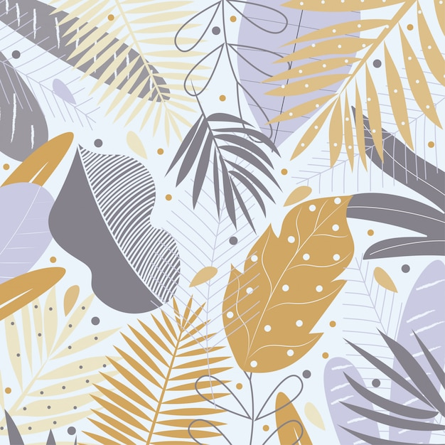 Feuilles tropicales jaunes et grises sur fond pastel Vecteur Premium