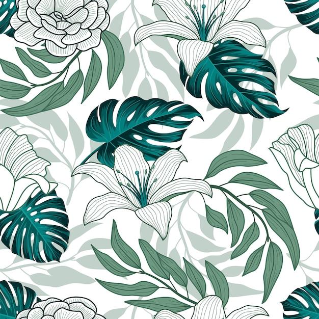 Feuilles Tropicales, Jungle Laisse Modèle Sans Couture Vecteur Premium