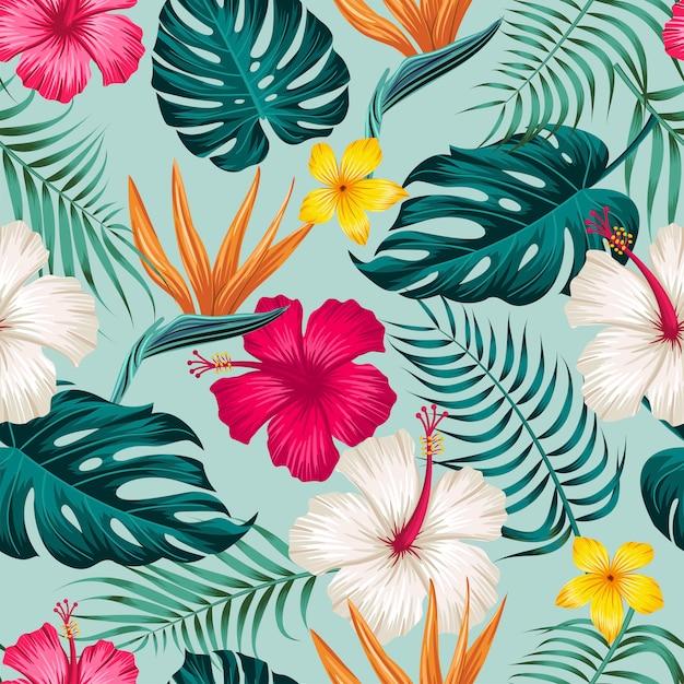 Feuilles Tropicales, Modèle Sans Couture De Feuilles De Jungle Vecteur Premium