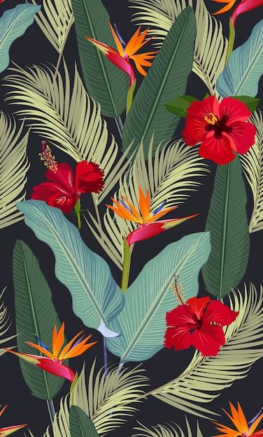 Feuilles tropicales de modèle sans couture avec fleur d'hibiscus rouge et oiseau de paradis Vecteur Premium