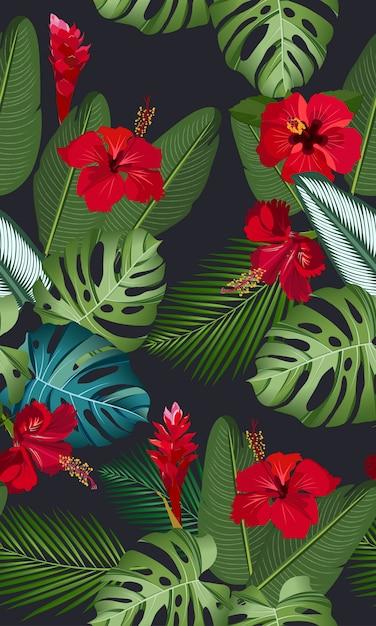 Feuilles tropicales de modèle sans couture avec fleur d'hibiscus rouge Vecteur Premium