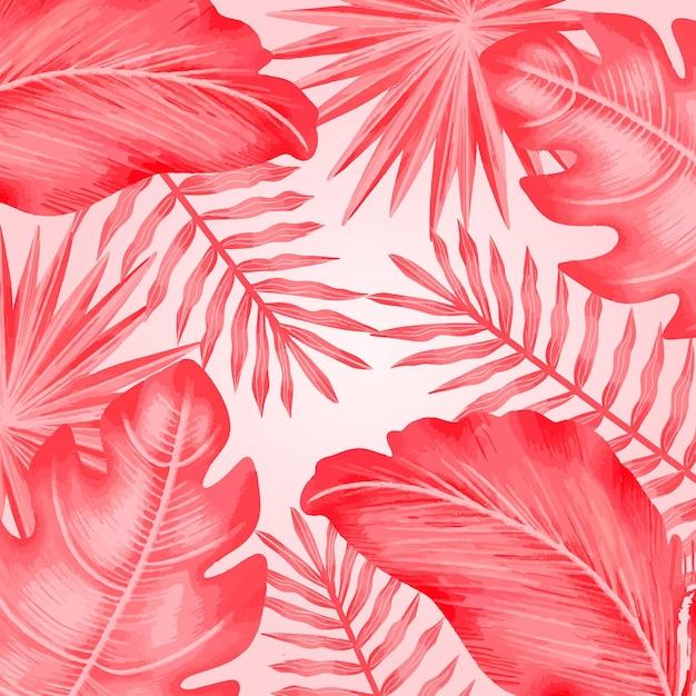 Feuilles Tropicales Roses Monochromes Vecteur gratuit