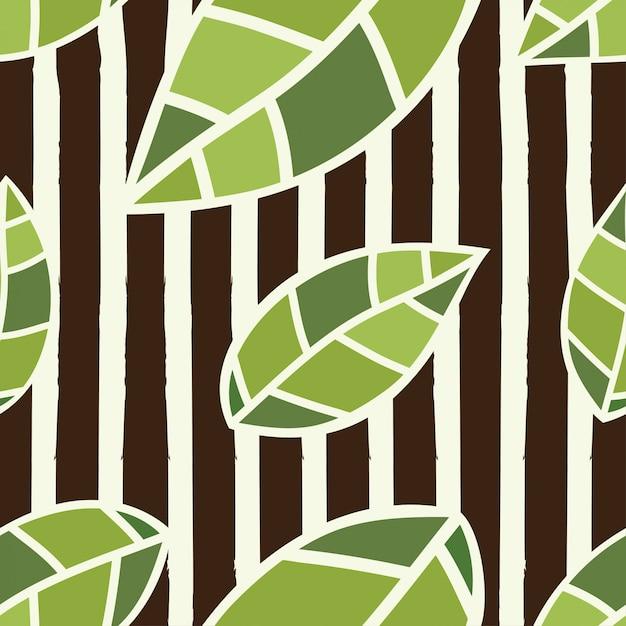 Feuilles vertes illustration vectorielle motif sans soudure Vecteur Premium