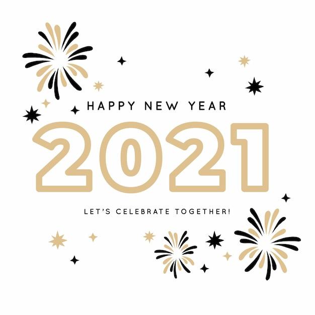 Feux D'artifice élégant Dessiné à La Main Bonne Année 2021 Vecteur Premium