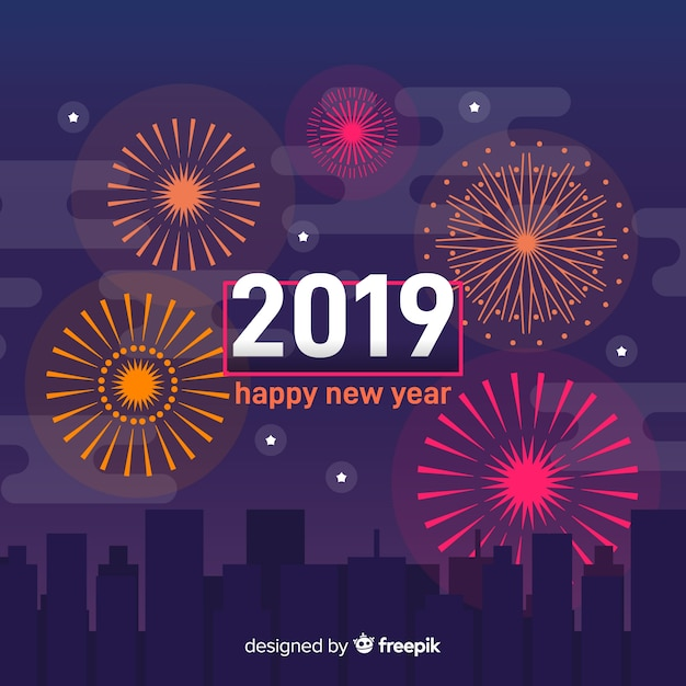 Feux d'artifice nouvel an 2019 fond Vecteur gratuit