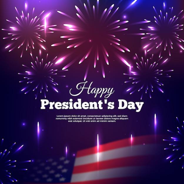 Feux D'artifice Réalistes Pour La Journée Du Président Vecteur gratuit