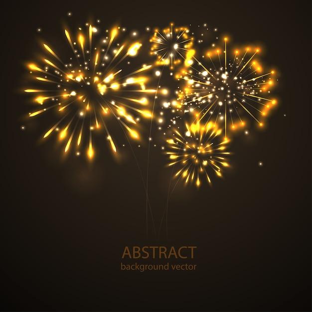 Feux d'artifice sur le vecteur de fond du crépuscule. feu d'artifice fête du nouvel an. Vecteur Premium