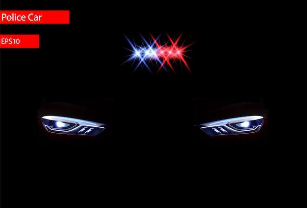 Feux de phares et effet de sirène, vue de face Vecteur Premium