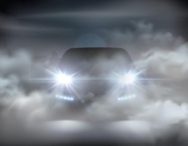 Feux De Voiture Réalistes Dans Le Concept Abstrait De Composition De Brouillard Avec Voiture Argentée à L'illustration De Nuit Vecteur gratuit