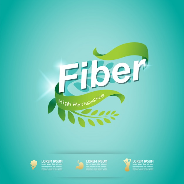 Fibre dans le label de concept de vecteur bio aliments verts Vecteur Premium