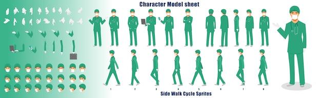 Fiche de modèle de personnage médecin avec séquence d'animation du cycle de marche Vecteur Premium