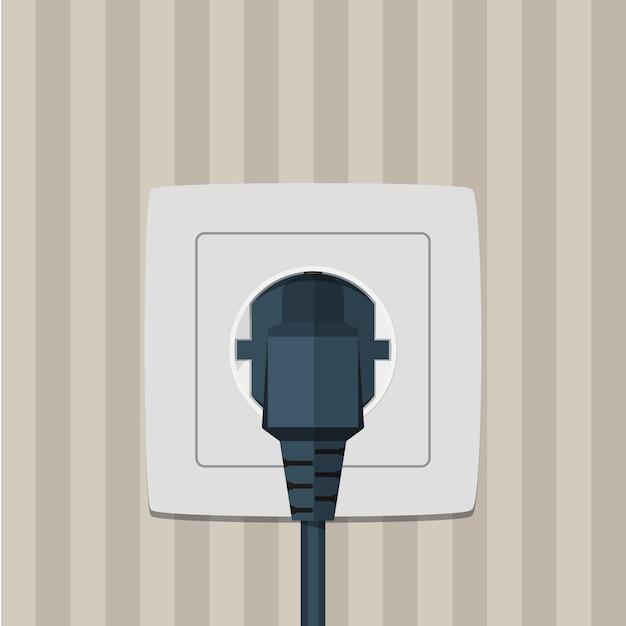 Fiche Et Prise électrique Sur Un Mur. Vecteur Premium