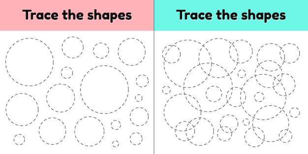 Fiche de suivi pédagogique pour les enfants de la maternelle, du préscolaire et de l'école. trace la forme géométrique. lignes en pointillé. cercle. Vecteur Premium