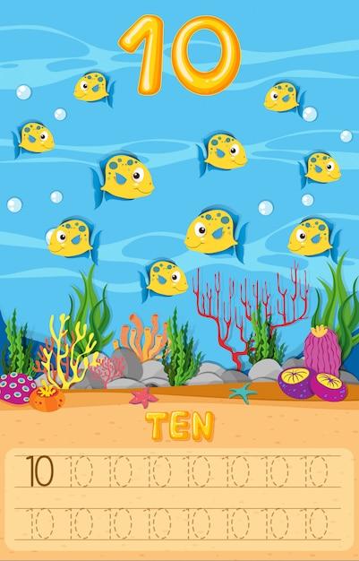 Fiche de travail dix poissons sous l'eau Vecteur Premium