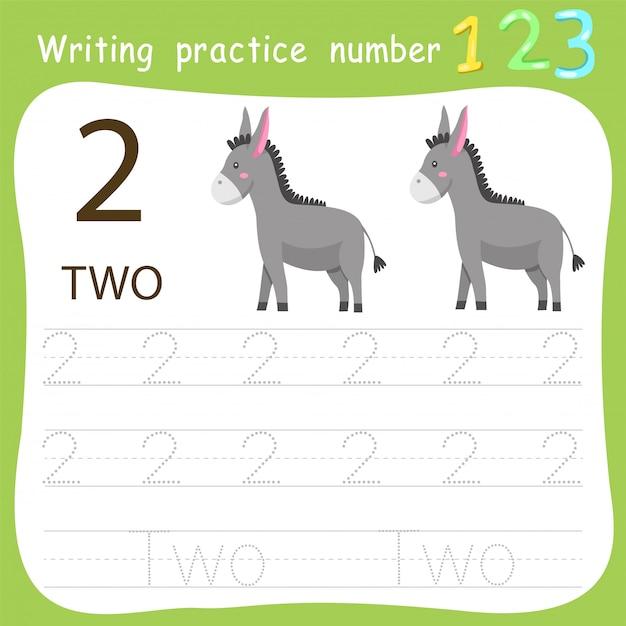 Fiche de travail pratique d'écriture numéro deux Vecteur Premium