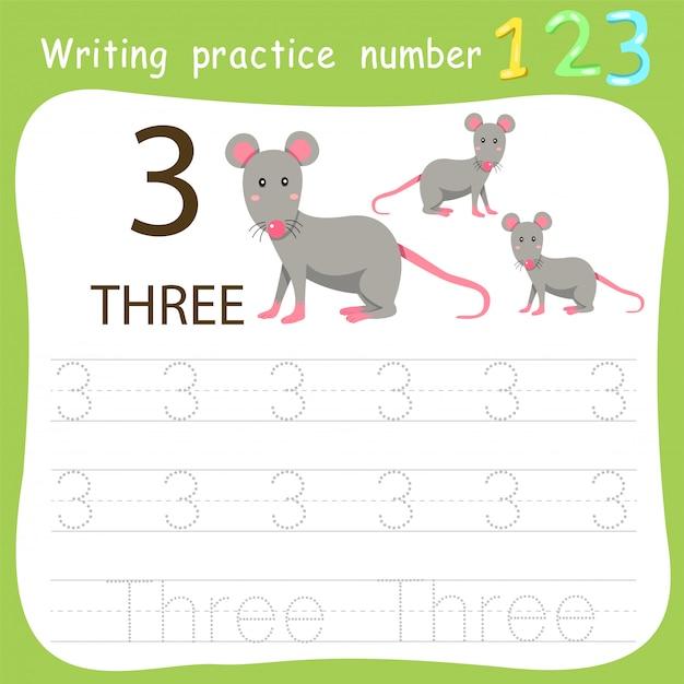 Fiche de travail pratique d'écriture numéro trois Vecteur Premium