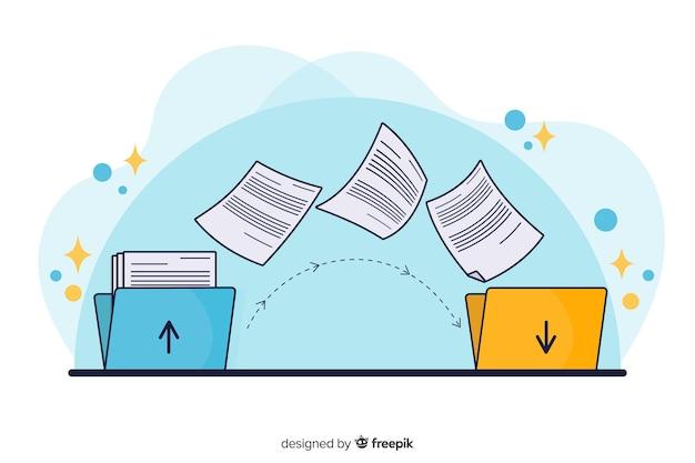 Fichiers De Transfert De Pages De Concept Vecteur gratuit