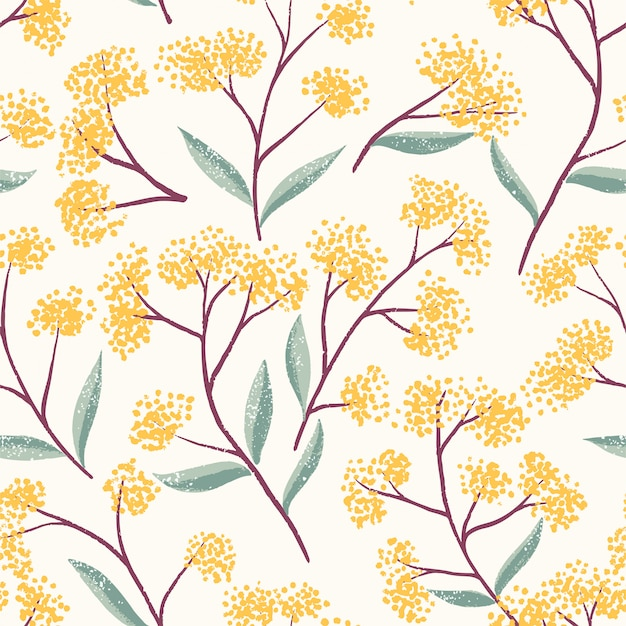 Field foral seamless pattern Vecteur Premium
