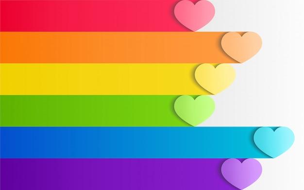 Fierté de lgbt coloré avec des coeurs dans un style artisanal de papier Vecteur Premium