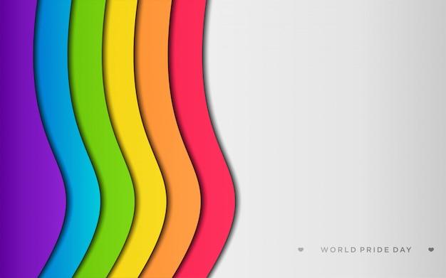 Fierté de lgbt coloré avec fond dans le style artisanal de papier Vecteur Premium