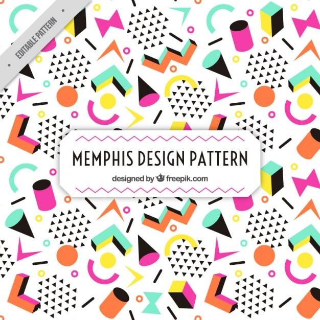 Figures colorées de motif memphis Vecteur gratuit