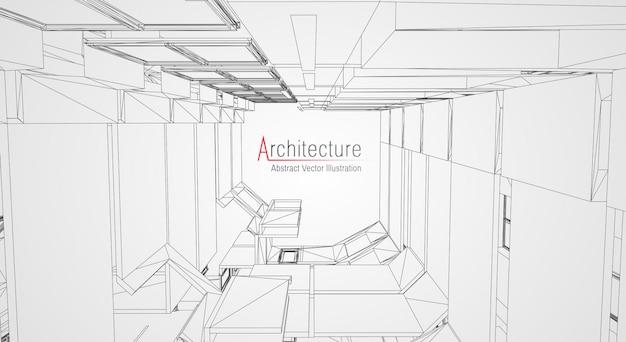 Filaire d'architecture moderne. Vecteur Premium