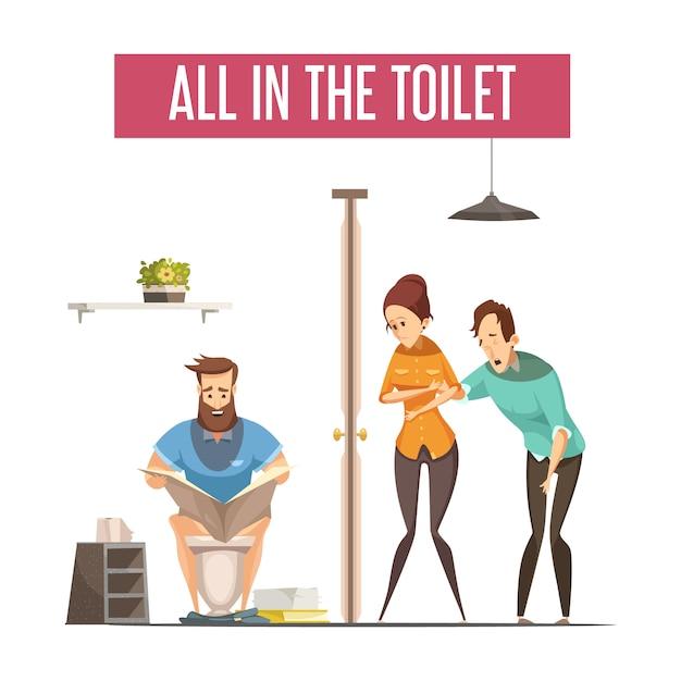 File d'attente au concept de toilettes avec personnes en attente à l'avant et homme lisant un journal sur les toilettes Vecteur gratuit