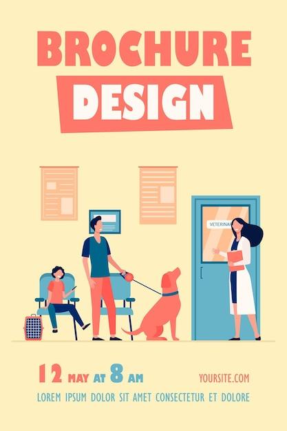File D'attente De Personnes Avec Des Animaux Domestiques Au Modèle De Flyer De Salle Vétérinaire Vecteur gratuit