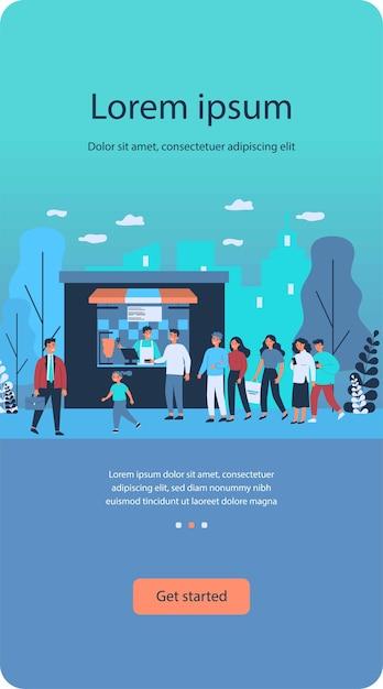 File D'attente De Personnes En Attente Au Comptoir De Kiosque De Restauration Rapide Vecteur Premium