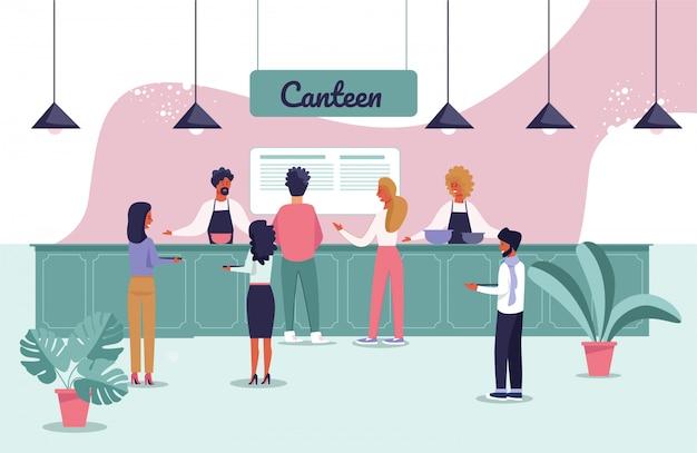 File d'attente de personnes de cantine et d'individu au comptoir Vecteur Premium