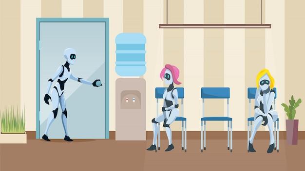 File d'attente de robots dans le couloir de bureau attente d'un entretien d'embauche Vecteur Premium