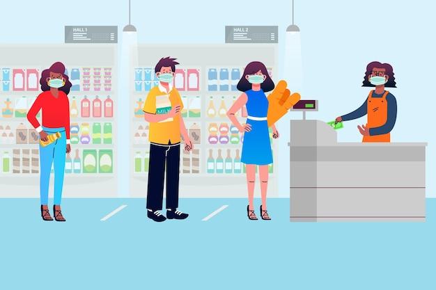File D'attente De Supermarché Avec Distance De Sécurité Vecteur gratuit