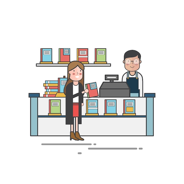 Fille Achetant Un Livre Dans La Librairie Vecteur gratuit