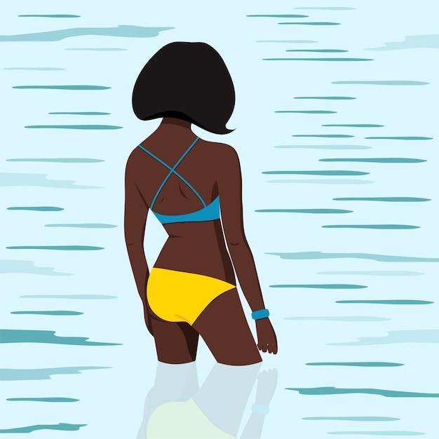 Fille Afro-américaine En Maillot De Bain Va Nager Dans L'illustration De La Mer. Vecteur Premium