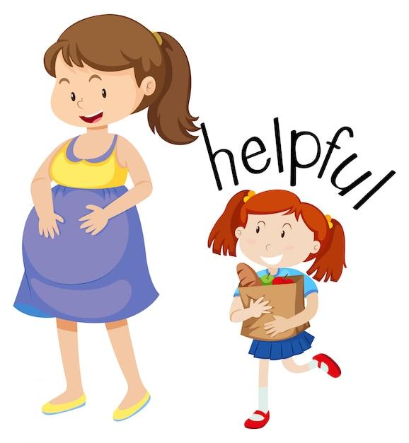 Fille aidant une femme enceinte Vecteur gratuit