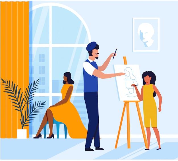 Fille, Apprentissage, Peinture, Plat, Illustration Vecteur Premium