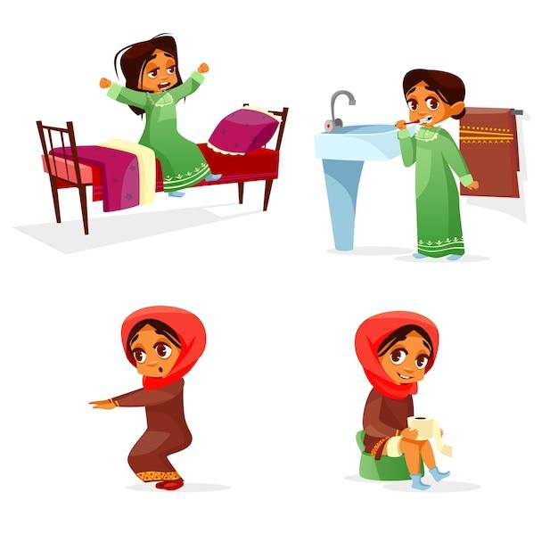 Fille arabe chaque matin activité de routine Vecteur gratuit