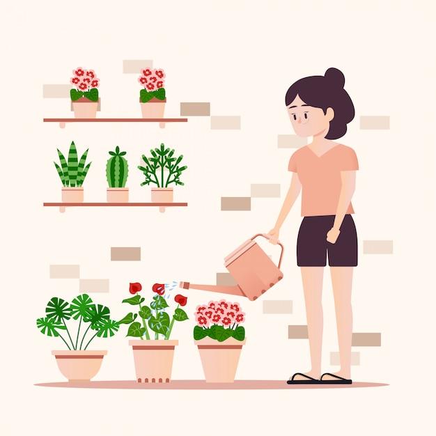 Fille arrosant des plantes Vecteur Premium