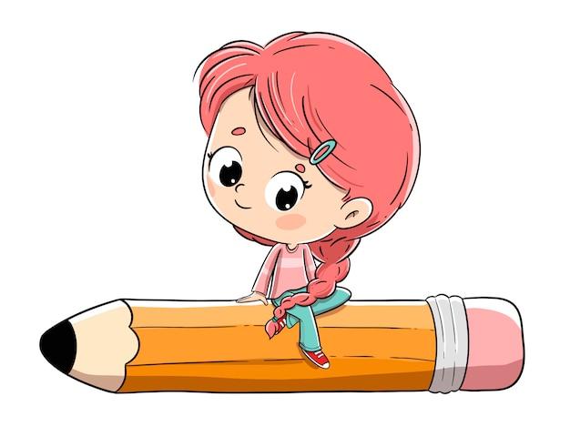 Fille assise au gros crayon. elle a une tresse et des cheveux roux. Vecteur Premium