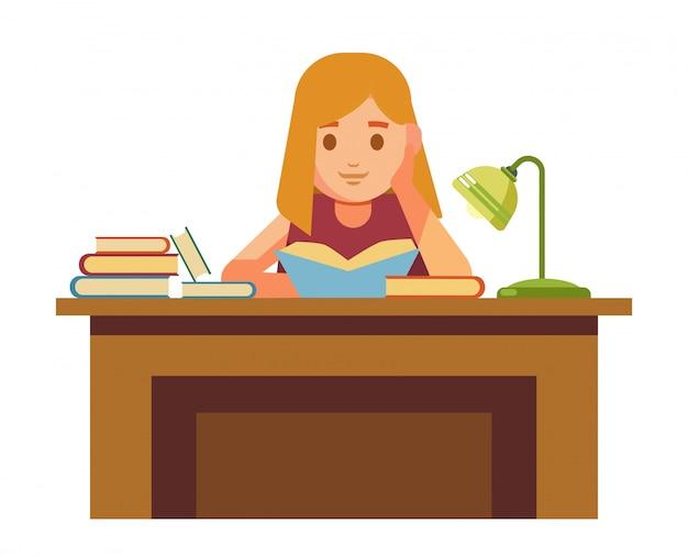 Fille assise à table avec des livres et des lectures Vecteur Premium