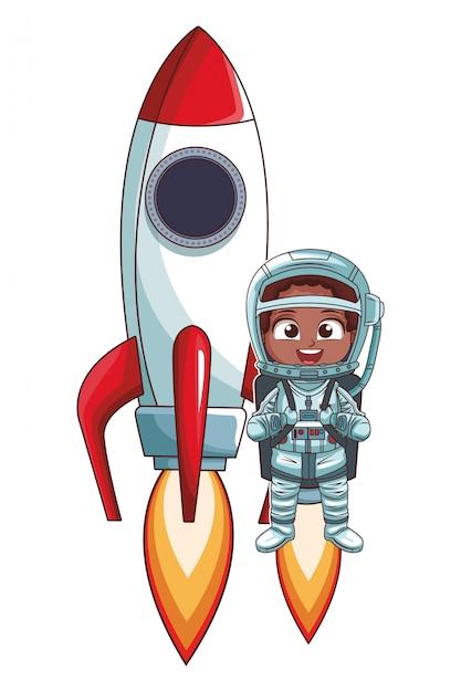Fille Astronaute Qui Décolle Vecteur Premium