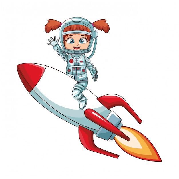 Fille Astronaute Sur Le Vaisseau Spatial Vecteur Premium