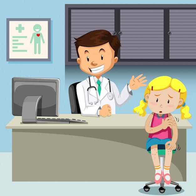 Une fille atteinte de la varicelle rencontre un médecin Vecteur gratuit