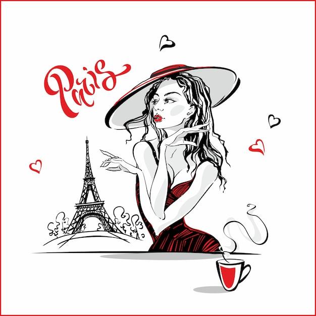 La fille au chapeau buvant du café Vecteur Premium