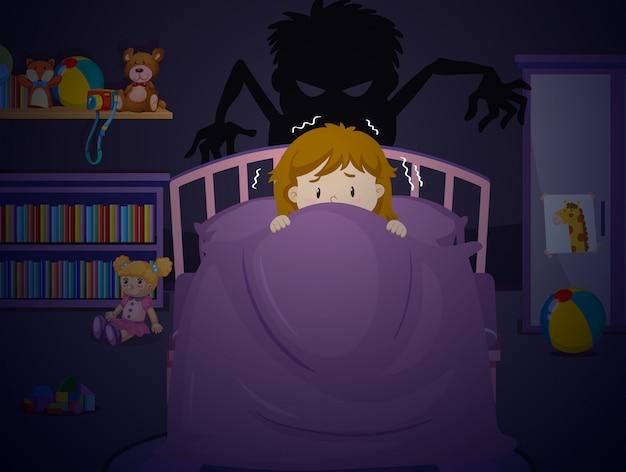 Fille au lit avec cauchemar Vecteur Premium