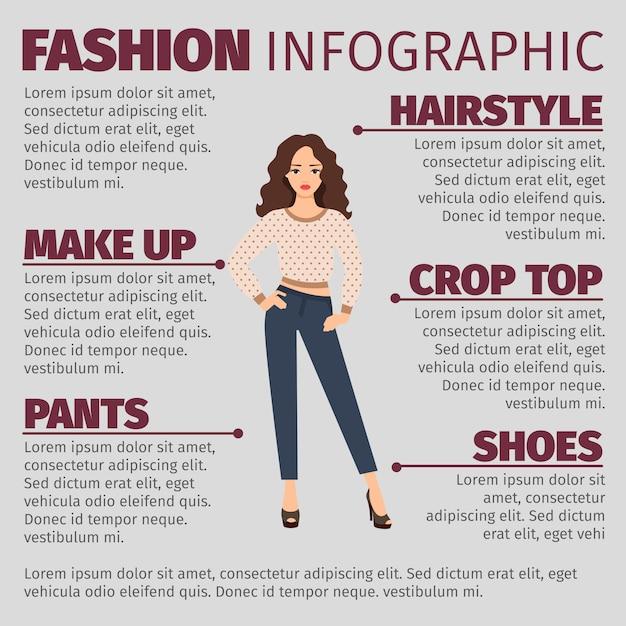 Fille au printemps vêtements mode infographique Vecteur Premium