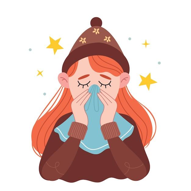 Une Fille Aux Cheveux Roux Dans Un Chapeau Brun Chaud Se Mouche Dans Un Mouchoir. Fille éternue Dans Les Tissus. La Jeune Femme Malade à La Maison. Vecteur Premium