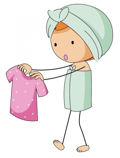 Fille en bain tenant une chemise rose Vecteur gratuit