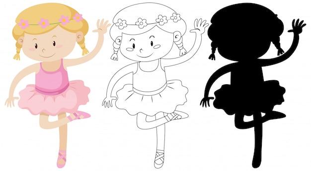 Fille De Ballet Avec Son Contour Et Sa Silhouette Vecteur gratuit